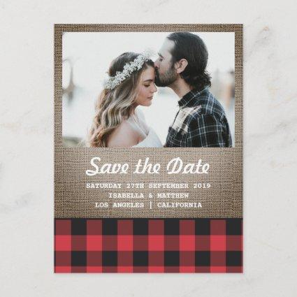 Rustic Buffalo Plaid & Burlap Photo Save the Date Announcement