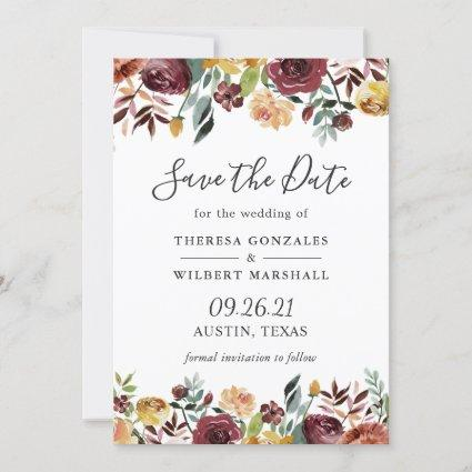 Rustic Burgundy Bloom Watercolor Floral Wedding Save The Date