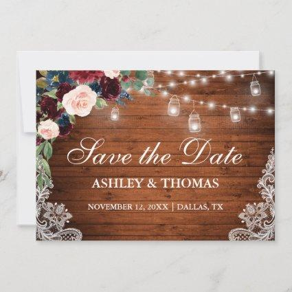 Rustic Burgundy Blue Floral Lights Lace Wood Save The Date