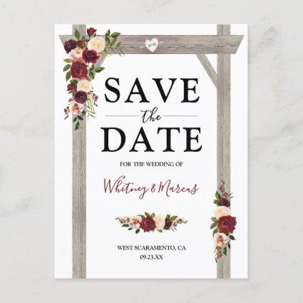 Rustic Burgundy Blush Floral Boho Save the Date Announcement