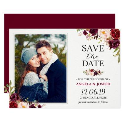 Rustic Burgundy Blush Floral  Photo Cards