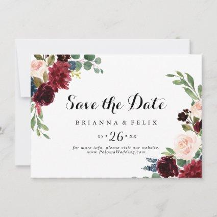 Rustic Burgundy Calligraphy Horizontal Wedding Save The Date