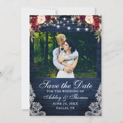 Rustic Burgundy Floral Blue Wood Lights Photo Save The Date