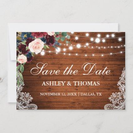 Rustic Burgundy Floral Lace Wood Save the Date
