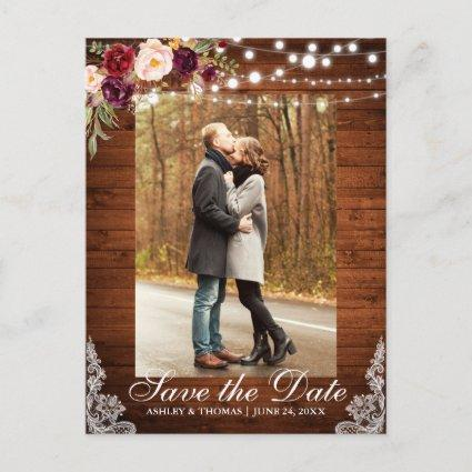 Rustic Burgundy Floral Save the Date Back Text Announcement