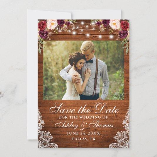 Rustic Burgundy Floral Wood Lights Lace Photo Save The Date