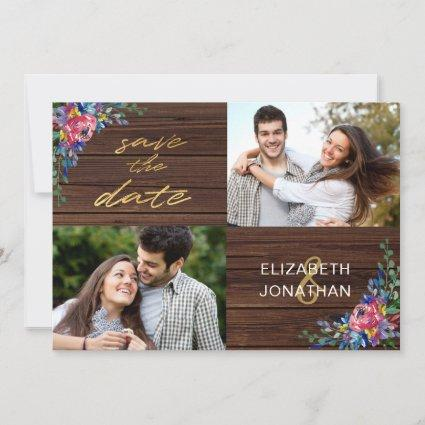 Rustic Burgundy Navy Blue Gold Wood Floral Save The Date