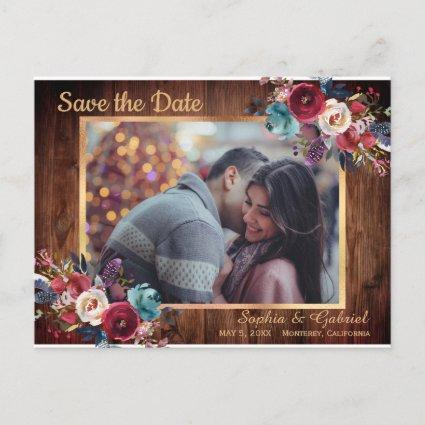 Rustic Burgundy Navy Floral Photo Save the Date Announcement