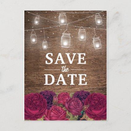Rustic Burgundy Red Floral Save the Date Announcement