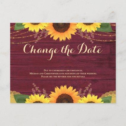 Rustic Burgundy Sunflower Wedding Change the Date Announcement