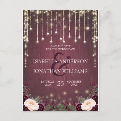 Rustic Burgundy Wood String Lights Save the Date Announcement