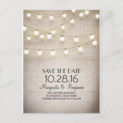 Rustic burlap and string lights save the date announcement