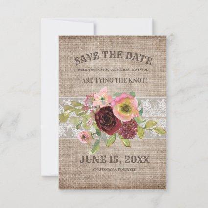 Rustic Burlap Burgundy Floral Lace  Save Date Save The Date
