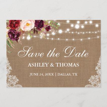 Rustic Burlap Burgundy Floral Lace Save the Date