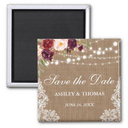 Rustic Burlap Burgundy Floral Lace Save the Date S Magnets