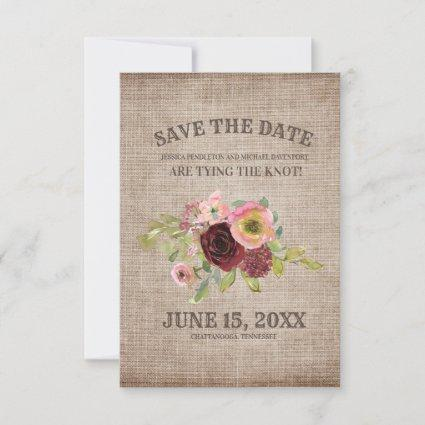 Rustic Burlap Burgundy Floral Wedding Save Date Save The Date