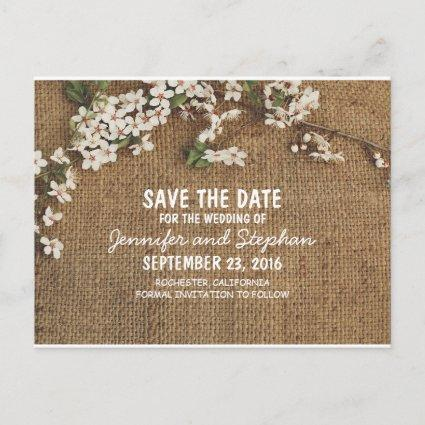Rustic Burlap Country Save The Date Announcement
