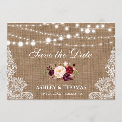Rustic Burlap Lace Burgundy Floral Save the Date