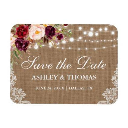 Rustic Burlap Lace Burgundy Floral Save the Date Magnet