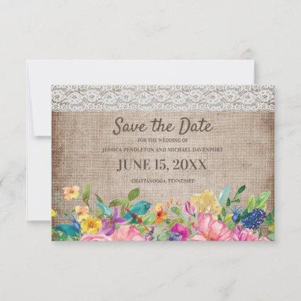 Rustic Burlap Lace Floral Wedding Save Date Save The Date
