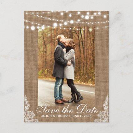 Rustic Burlap Lace Lights Save the Date Back Text Announcement
