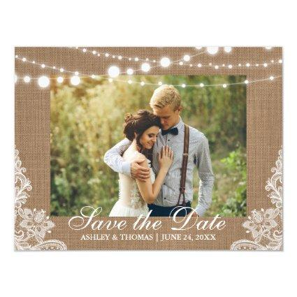Rustic Burlap Lace Lights Save the Date Engagement Magnetic Invitation