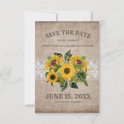 Rustic Burlap Lace Sunflowers Wedding Save Date Save The Date