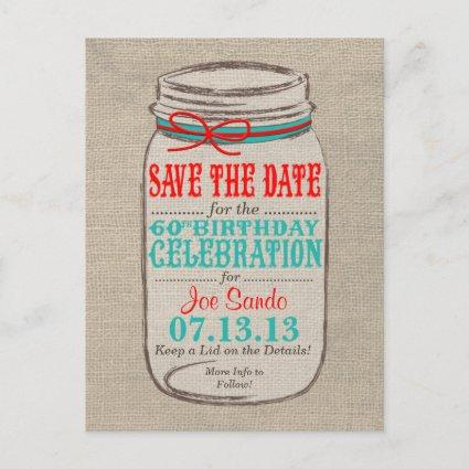 Rustic Burlap & Mason Jar 60 Birthday Invite