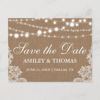 Rustic Burlap String Lights Lace Save the Date Announcements Cards