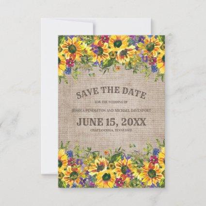 Rustic Burlap Sunflowers Wedding Save Date Save The Date