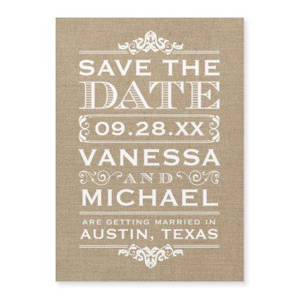 Rustic Burlap Typography Save the Date