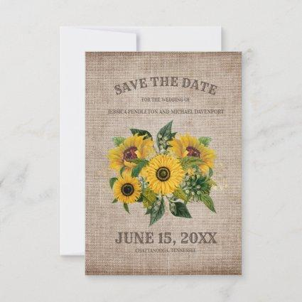Rustic Burlap Yellow Sunflowers Wedding Save Date Save The Date