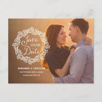 Rustic Calligraphy Photo Save the Date Announcement