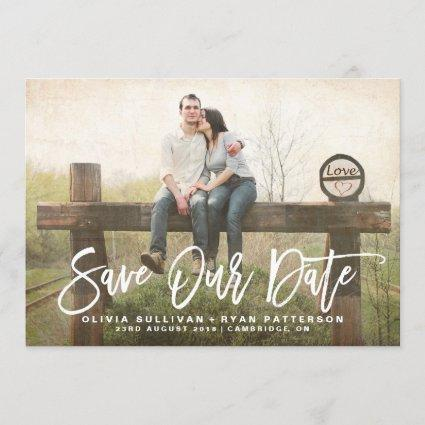 Rustic Calligraphy | Save Our Date Announcement