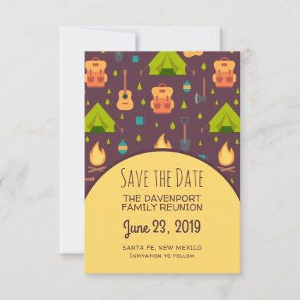 Rustic Camping Pattern Tents and Guitars Reunion Save The Date