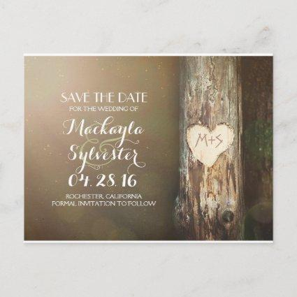 rustic carved heart tree save the date Cards