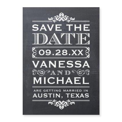 Rustic Chalkboard Typography Save the Date