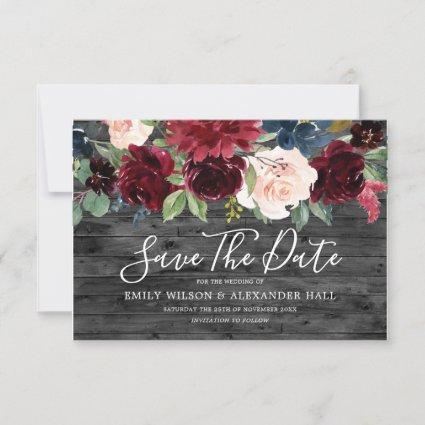 Rustic Charcoal Wood Burgundy Flowers Wedding Save The Date