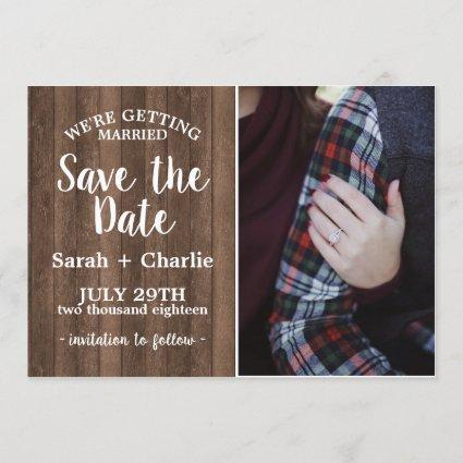 Rustic Charm Wood Photo Wedding Save The Date
