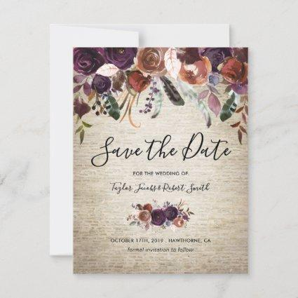 Rustic Chateau Butterum & Plum Floral Save The Date
