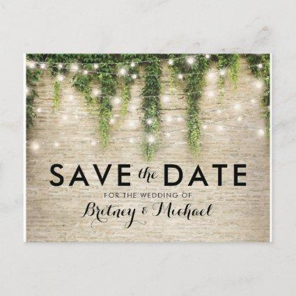Rustic Chateau Stone Church Lights Save the Date Announcement