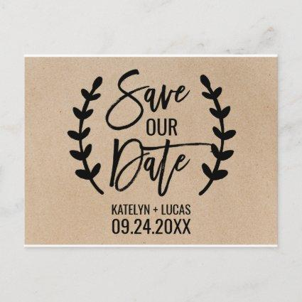 Rustic Chic Faux Kraft Calligraphy Save our Date Announcements Cards