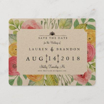 Rustic Chic Save the Date Photo Back
