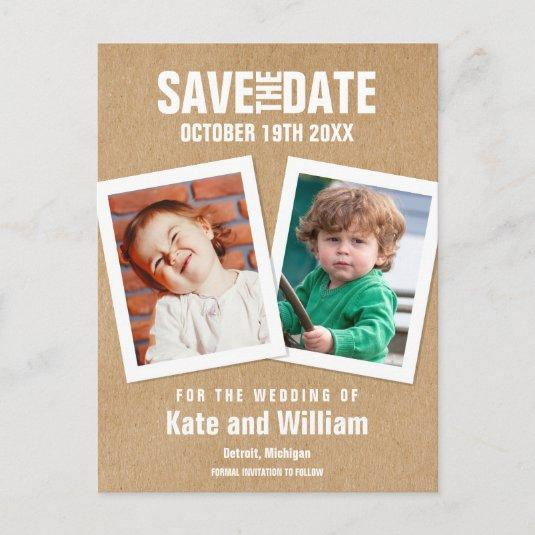 Rustic Childhood Photos Save the Date Announcement
