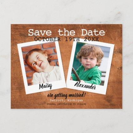 Rustic Childhood Photos Vintage Wood Save the Date Announcement