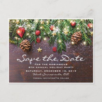 Rustic Christmas Holiday Party Save the Date Announcements Cards