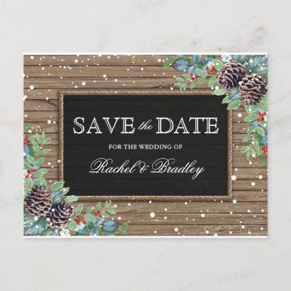 Rustic Christmas Winter Wedding Save the Date Announcement