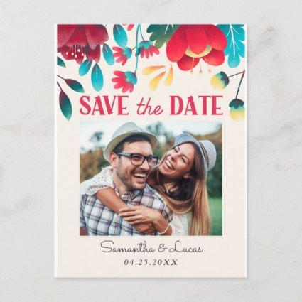 Rustic Colorful Florals Photo Save the Date Announcement