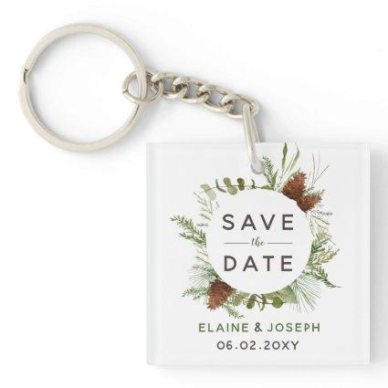 Rustic Conifer Pine Cone Save The Date Photo Keychain