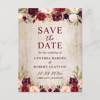 Rustic Country Burgundy Red Floral